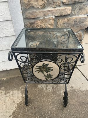 Metal Side Table with Tile Coconut Decor on both sides for Sale in Aurora, CO