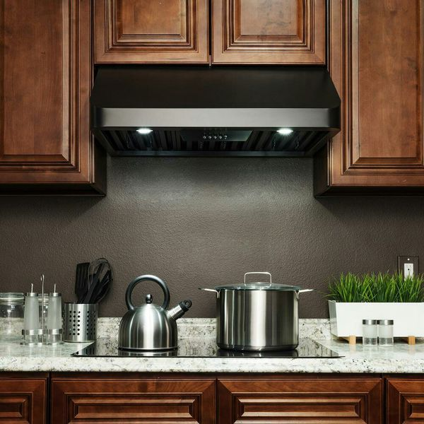 New AKDY 30 in. 492 CFM Kitchen Under Cabinet Range Hood with Lights in Black Painted Stainless Steel