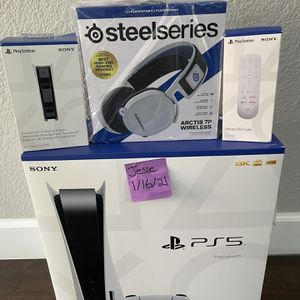 PlayStation 5 Disk + Arctis 7P Headset + DualSense Charging Station + Media Remote for Sale in Morgan Hill, CA