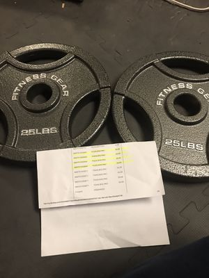 Retail New 2x 25lb Olympic Weight plates -50lb total for Sale in Moonachie, NJ