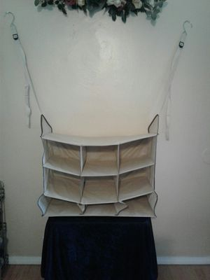 Beige 9 cubby hanging closet organizer for Sale in Colton, CA