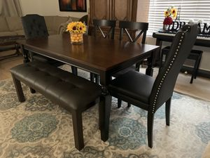Stunning Modern farmhouse kitchen dining table with leather bench and 4 chairs (2 black faux leather tufted nailed )seats 6 7 8 for Sale in Peoria, AZ