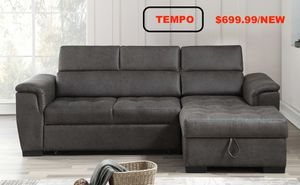 Air Leather Pull Out Sectional Sofa, Grey for Sale in Santa Ana, CA