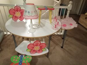 4 Child tables. 1 child lamp, 4wall shelving and 4 wall mounted clothing hungers for Sale in Los Angeles, CA