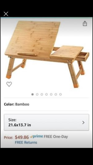 Laptop Desk Table Adjustable 100% Bamboo Foldable Breakfast Serving Bed Tray w' Tilting for Sale in Norwalk, CT