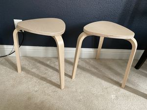 TWO BLONDE STACKING WOOD STOOLS for Sale in Clovis, CA