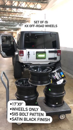 -12 Offset Jeep Wrangler Wheels (5 Wheels no tires) for Sale in Charlotte, NC