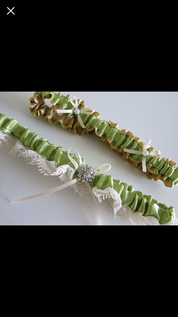 Green Wedding Garter Set with Rhinestone Pearl Ribbon Keepsake and Toss Garter