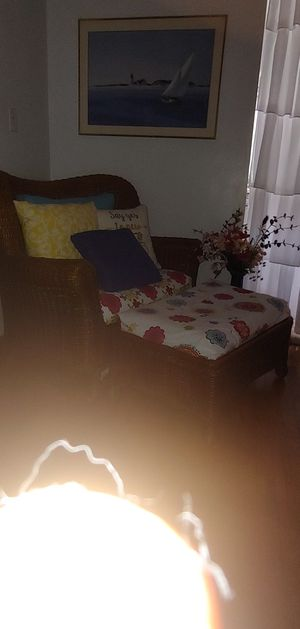 Wicker chair and foot stool for Sale in Clio, MI