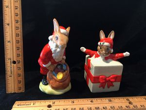Royal Doulton bunnykins Santa DB 17 -made 1981 & Christmas surprise DB 146 - made 1994 for Sale in Spanaway, WA