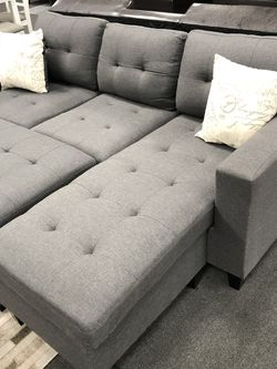 3PC Gray & Black Sofa Sectional W/ Ottoman for Sale in Fresno,  CA