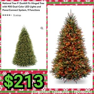 NEW National Tree Company 9' Dunhill Fir Hinged Dual Color LED Pre Lit Center Connect 9 Function Christmas Tree: njft hsewres decor seasonal for Sale in Edgewater Park, NJ