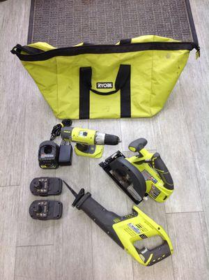 "RYOBI TOOLS 3 tool combo set kit ( circular saw , reciprocating saw,1/2"" drill for Sale in Dearborn Heights, MI"