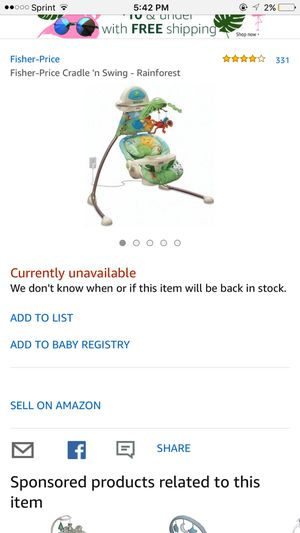 fisher price rainforest swing for Sale in Belleville, IL
