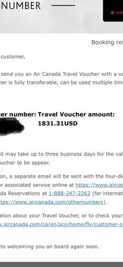 Air Canada Travel Voucher 1831$ USD UNUSED And Fully Transferable for Sale in Ashburn,  VA