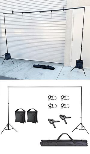 (NEW) $35 Backdrop Stand Photography Background w/ Clips, Carry & Sand Bag (Adjustable 6.5' tall x 10' wide) for Sale in South El Monte, CA