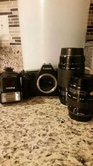 Canon EOS620 film camera, lenses, case, flash for Sale in Falls Church, VA
