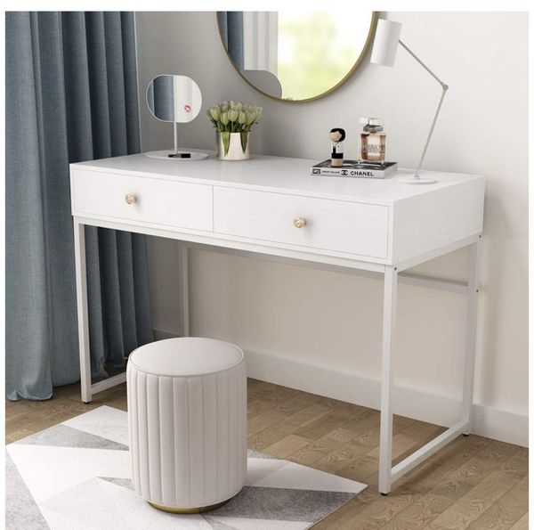 Tribesigns Computer Desk, Modern Simple 47 inch Home Office Desk Study Table Writing Desk with 2 Storage Drawers, Makeup Vanity Console Table
