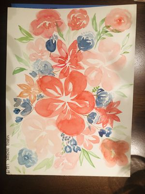 Flowers and roses watercolor bouquet 9x12 for Sale in Manassas Park, VA