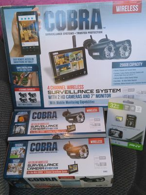 COBRA 4 Channel Wireless Surveillance System With 4 Cameras & 32GB SD card for Sale in Fort Worth, TX