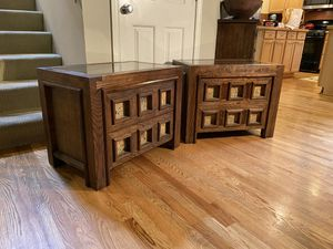 Brutalist Oak & Cork Nightstands Set for Sale in Redmond, WA