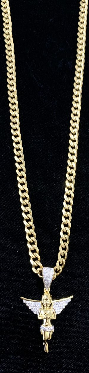 ANGEL FULL DIAMONDS CZ 18K GOLD CHAIN MADE IN ITALY ⭐️ BLACK FRIDAY 24 HOURS SALE!!!!! CLICK MAKE OFFER NOW! ⭐️ for Sale in Miami Beach, FL