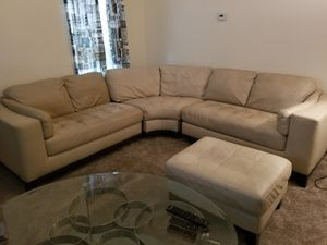 Cream leather couch sectional for Sale in West Mifflin, PA