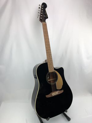 """Fender California Redondo Player Acoustic Electric Guitar Gloss Jetty Black 