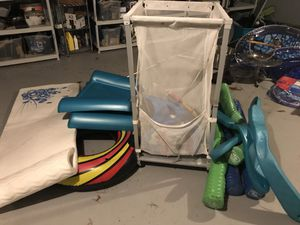 Various pool floaters and floater storage aluminum for Sale in Walpole, MA