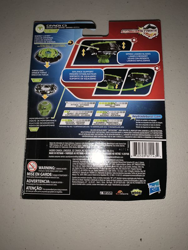 NEW SEALED Beyblade Burst Turbo SwitchStrike Caynox C3 D53/TD09 Starter Pack