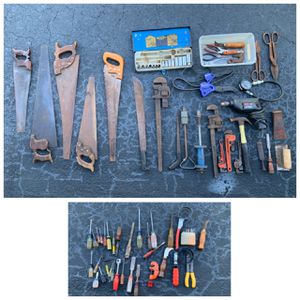Lot of tools Vintage hand saws craftsman screwdrivers & drill, vtg pipe wrenches etc for Sale in N REDNGTN BCH, FL