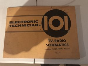 1957 Electronic Technician's 101 TV-Radio Schematics for Sale in Fort Wayne, IN