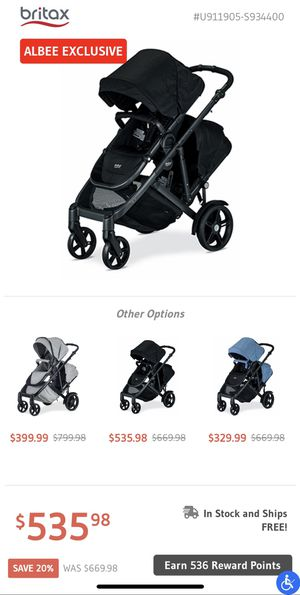 Britax B Ready G3 Double stroller for Sale in Gaithersburg, MD