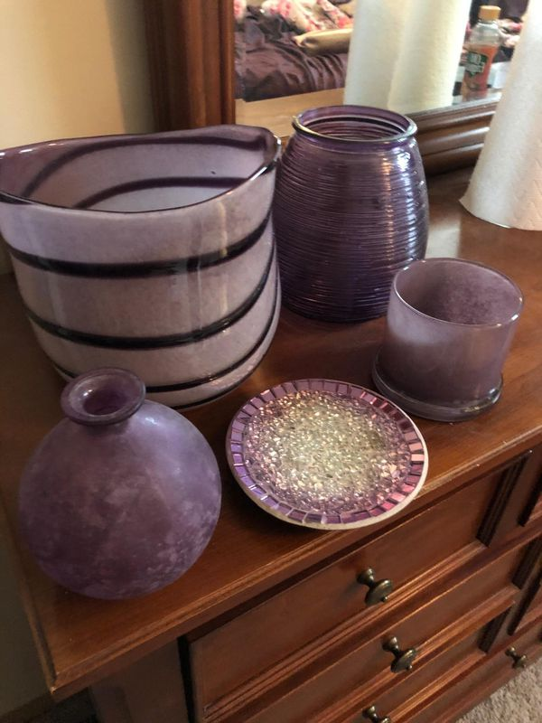 Lot of Purple Glass Decor