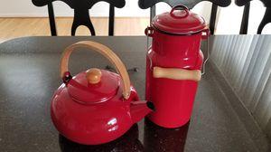 Enamel kettle and milk can for Sale in Arlington, VA