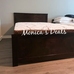 Full Size Solid Wood Bed & Bamboo Mattress $300 for Sale in Downey, CA