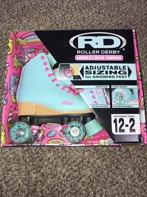 Roller Derby Girls Pixie Adjustable Fashion Roller Skates (Size Small 12-2)Teal for Sale in French Creek, WV