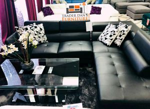 Brand New Black Faux Leather Sectional Sofa Couch w/Adjustable Headrests for Sale in Silver Spring, MD