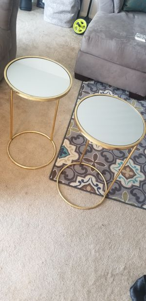 Mirrored end tables with gold trim (set of 2) for Sale in Parkville, MD