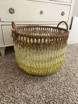 Crate and Barrel Large Floor Wooden Basket w/ Handles for Sale in Scottsdale, AZ