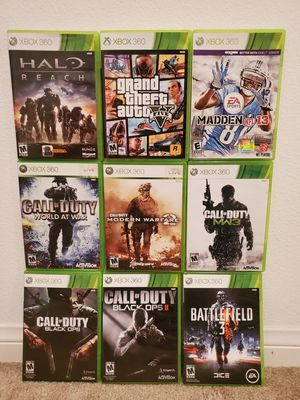 Xbox 360 Games: Halo Reach, Call of Duty Black OPS & 2, World at War, Modern Warefare 2, Battlefield 3, Grand Theft Auto 5, Madden 13. 9 for $50 for Sale in Upland, CA