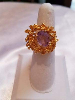 Gold plated and amethyst ring, size 5 for Sale in Bangor, ME