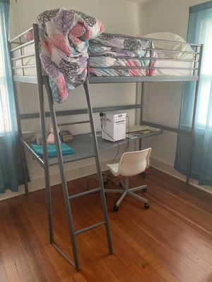 IKEA loft bed with desk and chair for Sale in Plainville, CT