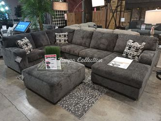 New Sectional Sofa with Ottoman, Smoke, SKU# ASH80703RAFTC for Sale in Santa Fe Springs,  CA