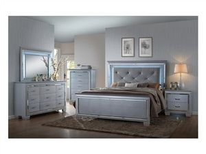 Brand new gray LED queen bed frame, dresser, mirror, nightstand for Sale in San Diego, CA