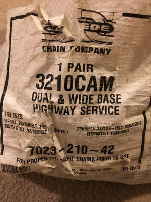 Wide Base Tire Truck Chains (pair) #3210CAM for Sale in Puyallup, WA