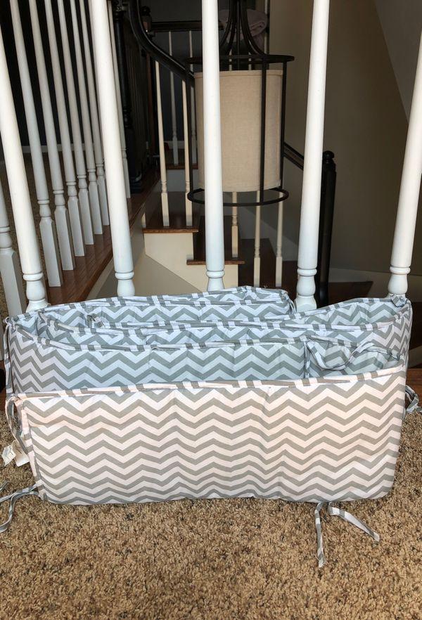 Grey and White Chevron bumper for baby crib