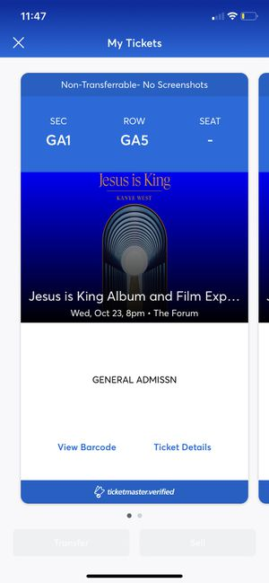 2x Kanye West Jesus is King Tickets GA for Sale in Inglewood, CA