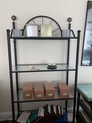 Black metal and glass bookshelf for Sale in Arlington, VA