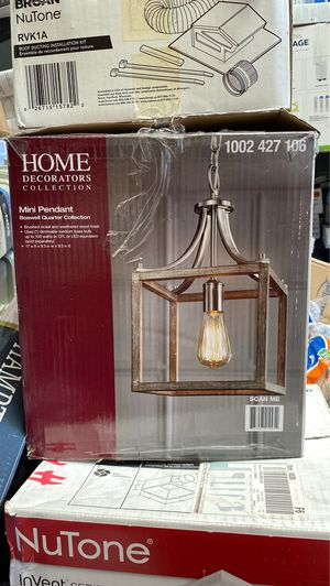 Home Decorators Collection Boswell Quarter 9.44 in. 1-Light Brushed Nickel Pendant with Painted Weathered Gray Wood Accents for Sale in Garden Grove, CA